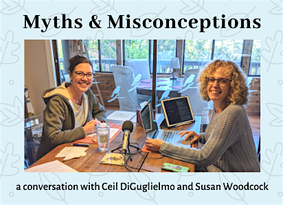 Ceil DiGuglielmo and Susan Woodcock recording a podcast together