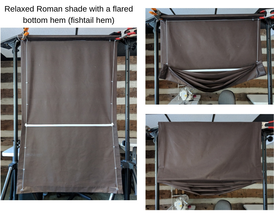 flared hem on a relaxed roman shade
