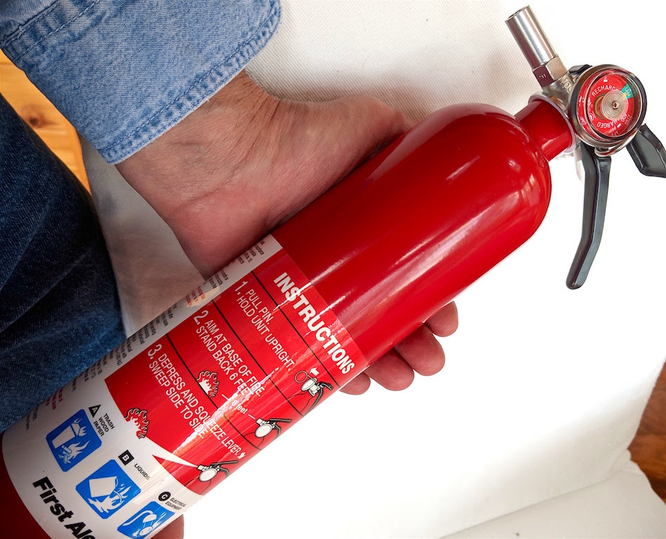 be sure to have a fire extinguisher in the home and the workroom