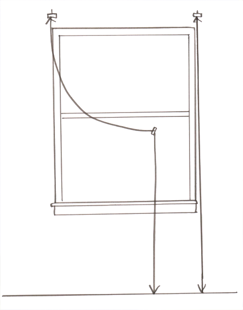 This drawing shows how to plan for an even length by draping a cord at the window