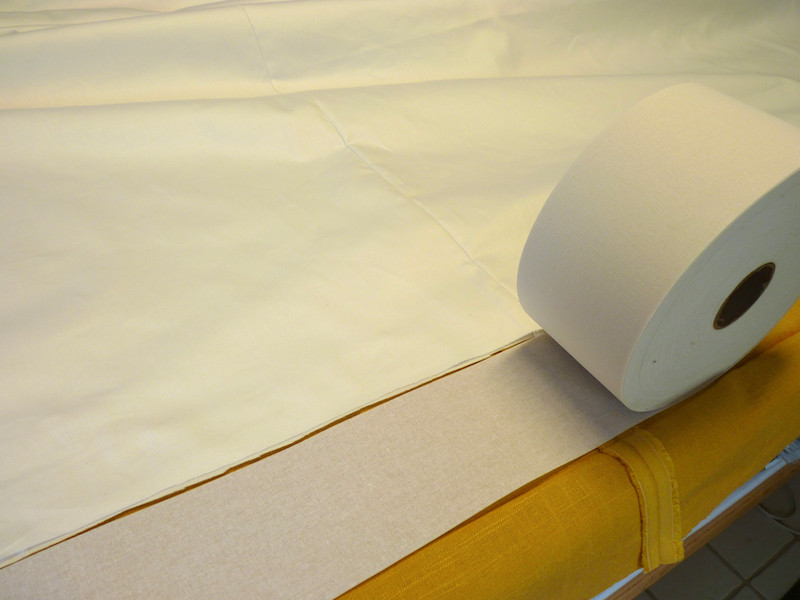 Buckram is used in drapery headings.