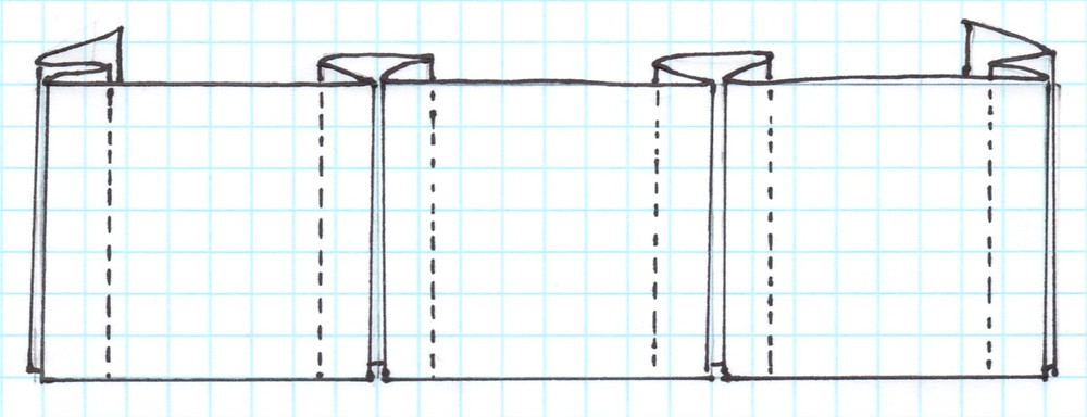 sketch of a basic box pleated valance