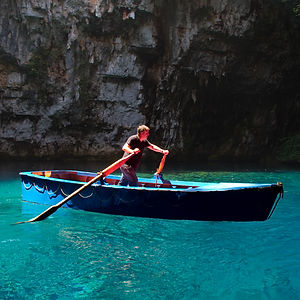 Boatman on Melissani Cave-Lake