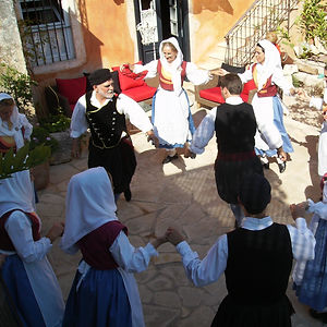 Kefalonian folk dancers in local costume.
