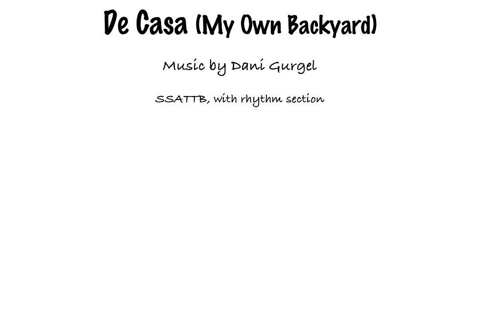 De Casa/My Own Backyard (SSATTB) Latin