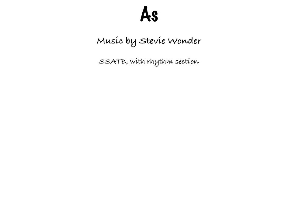 As by Stevie Wonder (SATB) Medium Funk