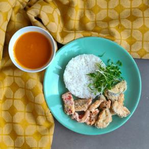 Japanse curry met gepaneerde, geroosterde groenten