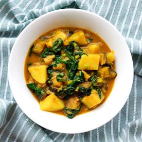 Vegan aardappelcurry met groenten