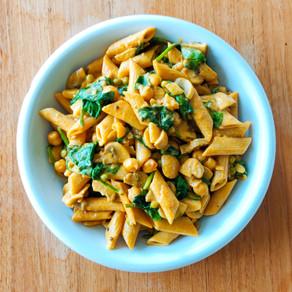 Vegan romige pasta met kikkererwten