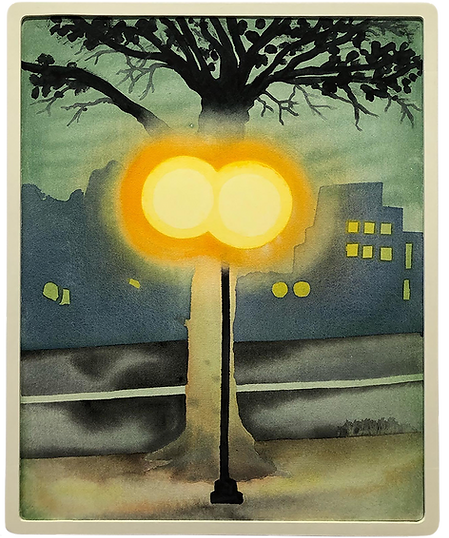 Two Light I front of tree (2020 Feb) Masamitsu Shigeta