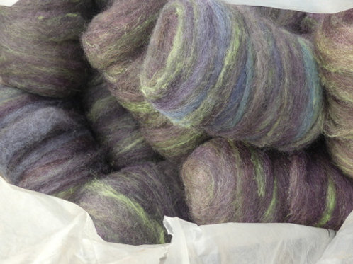 Muted rainbow gotland with green silk swirls 100g $15