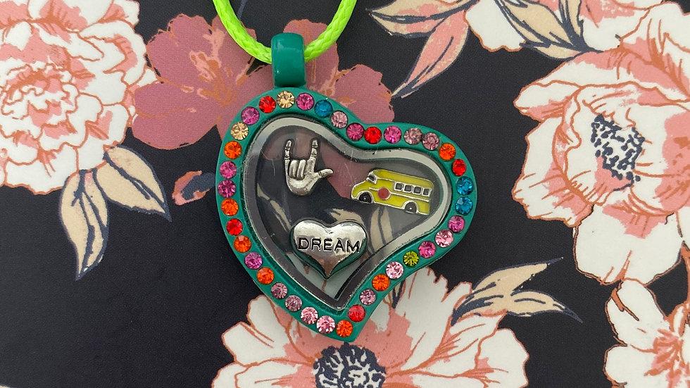 Green heart i-charm locket