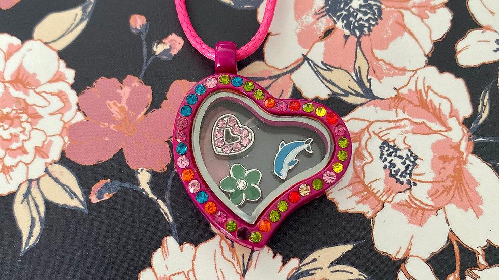 Pink heart i-charm locket