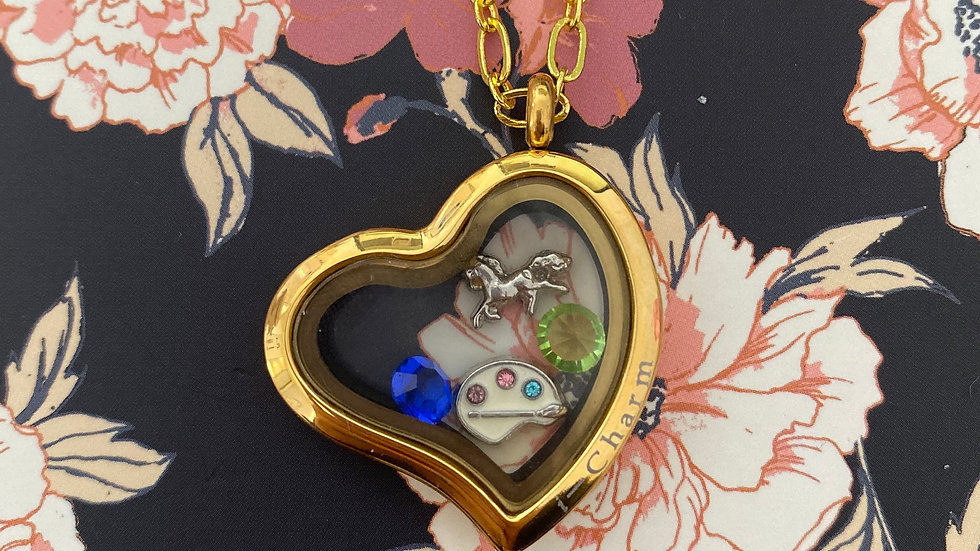 Gold heart i-charm locket