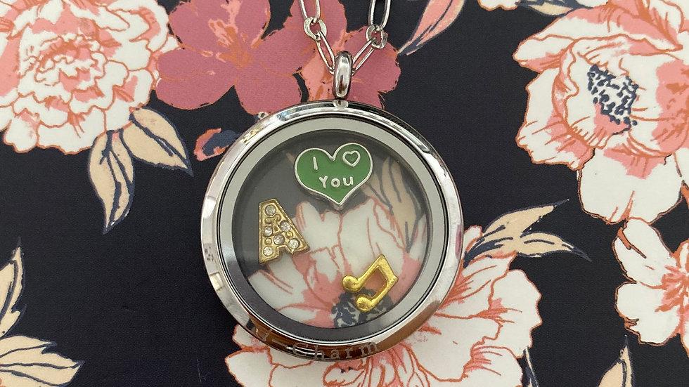 Silver circle i-charm locket
