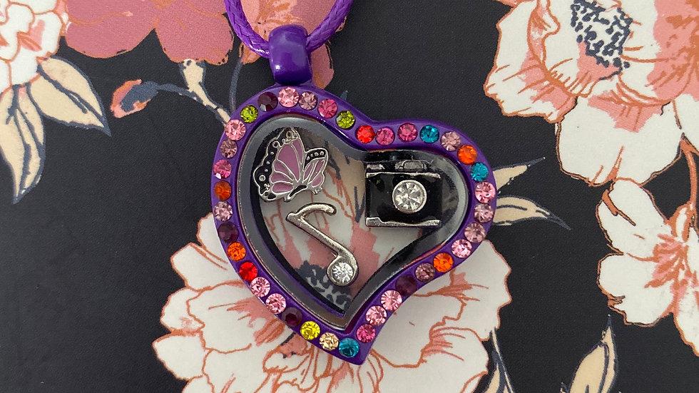 Purple heart i-charm locket