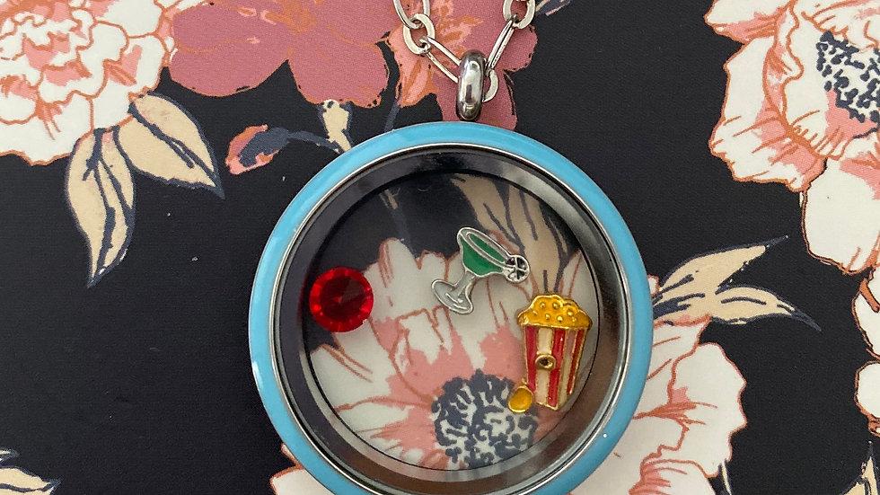 Blue circle i-charm locket