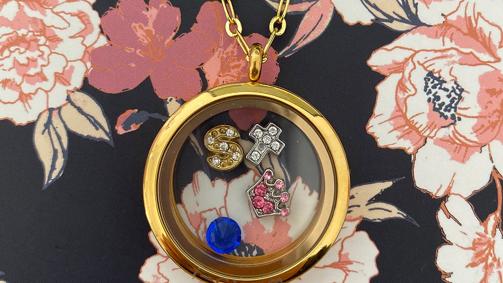 Gold circle i-charm lockets
