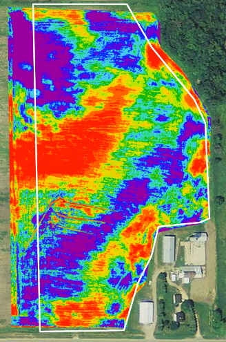 Thermal image of Farm Field in Minnesota