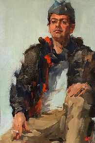 Jennifer Fyfe, portrait artist, Australian artist, australian impressionism, portraiture, alla prima, airman, us airforce ground crew, smoko, cigarette break, impresionist portrait, female artist, australian female artist