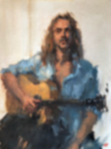 jim lawrie, impressionism, singer songwriter, denim shirt, melbourne music scene, oil portrait, oil study, musician, moustache, jennifer fyfe, australian artist, figure study