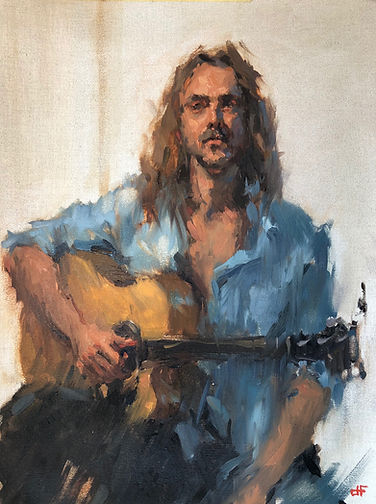 jim lawrie, impressionism, singer songwriter, denim shirt, melbourne music scene, oil portrait, oil study, musician, moustache, jennifer fyfe, australian artist, figure study