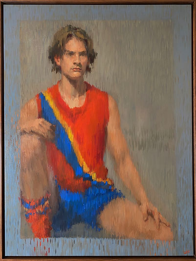 contemporary realism, impressionsim, portrait of a boy, jennifer fyfe, oil portrait, footballer, australian portrait artist, female potrait artist, sport portrait, aussie rules