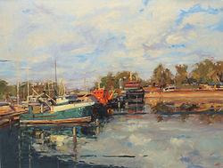 fishing boats, Darwin harbour, Australian artist, Jennifer Fyfe, oil painting, landscape, clouds, reflections