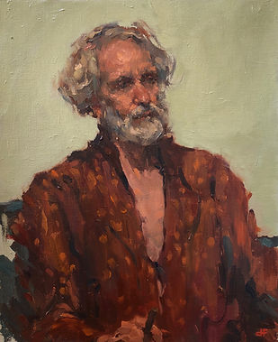 alla prima, old man seated, cigar smimpressionism, oil portrait, oil study, schubert music, moustache, jennifer fyfe, australian artist, figure study, smoking jacket, smoking cigar, silk dressing gown,