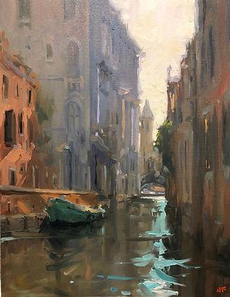 Italy, impressionism, jen fyfe artist, jennifer fyfe, venice, Venezia, mist,early morning, sunrise, Impressionism, Australian artist