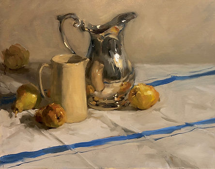 classical, classical art, classical oil painting, silverware, vintage silver, flemish, impressionism, australian artists, jennifer fyfe, jen fyfe artist, female artist