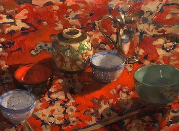 chinese bowls, persian rug, red, scarlet colour, impressionism, Australian artists, Jennifer Fyfe, Jen Fyfe artist