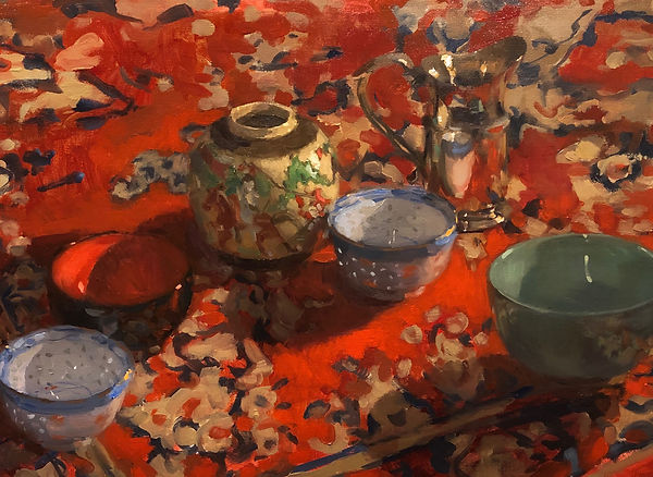 chinese bowls, persian rug, red, scarlet colour, impressionism, Australian artists, Jennifer Fyfe, Jen Fyfe artist