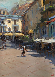 impressionism, oil painting, Australian art, amalfi coast,  italy, cafes, siesta, Jennifer Fyfe, positano