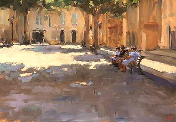 cassis france, cassis, jennifer fyfe, jen fyfe artist, australian artist, french impressionism, town square, cassis locals, shade, sunshine, female artists