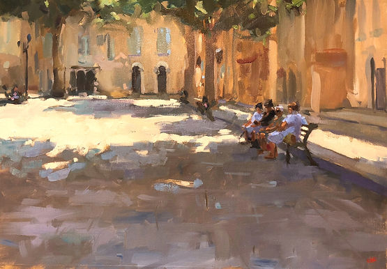 cassis france, cassis, jennifer fyfe, jen fyfe artist, australian artist, french impressionism, town square, cassis locals, shade, sunshine, female artists