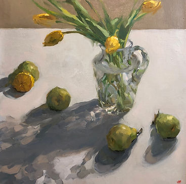 lemon, Jennifer Fyfe, Australian artist, still life, pears, yellow flowers, tulips, oil painting, impressionism, oil on belgium linen, contempory realism, cut glass, crystal, crystal vase