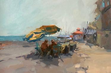 oil sketch, positano, jennifer fyfe, australian artists, italian beach, fishermen, sunshine, impressionism, umbrellas, summer, positiano locals
