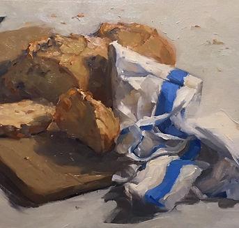 Jennifer Fyfe, Australian artist, still life, pane di casa, napkin, oil painting, impressionism, oil on belgium linen, contempory realism, bread, flemish