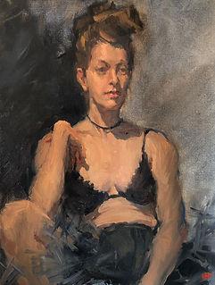 Jennifer Fyfe, australian female artist, french dancer, portraiture, french portraiture, impressionism, australian female artist, painting from life, alla prima, dancer portrait, black tulle, australian impressionism