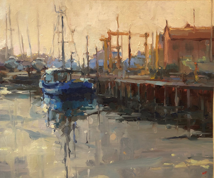 Jennifer Fyfe, australian art, australian artist, fishing boats, Robe south australia, contemporary realism, alla prima, fishing, australian impressionism, waterscape