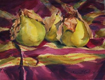 Quinces and Stripes, Margaret Cowling, Twenty Melbourne Painters Society, Watercolour, Impressionist, Australian Artist