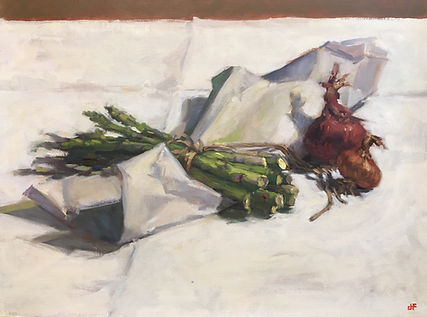 best still life paintings, Jennifer Fyfe, Australian artist, still life, white, napery, oil painting, impressionism, oil on belgium linen, contempory realism, asparagus , onions