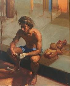 contemporary realism, impressionsim, portrait of a boy, jennifer fyfe, young boxer, australian portrait artist, female potrait artist, boxer, boxing