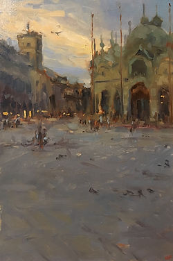 Italy, Jennifer Fyfe, Piazza San Marco, dusk, venice, Venezia, pidgeons, sunset, Impressionism, Australian artist