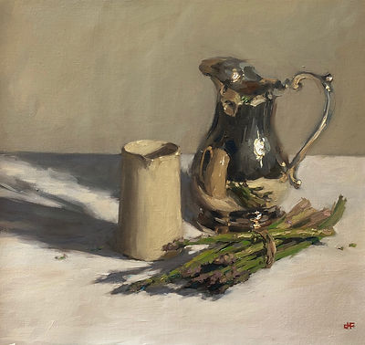 silver jug, water jug, Jennifer Fyfe, Australian artist, still life, asparagus, reflections, oil painting, impressionism, oil on belgium linen, contempory realism, silverware, reflection