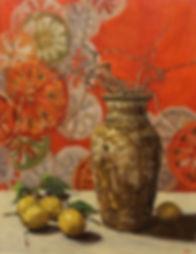 still life, Chinese porcelain, Chinese vase, lemons, wisteria, gold, Japanese fabric, oil painting, Jennifer Fyfe, Australian artist