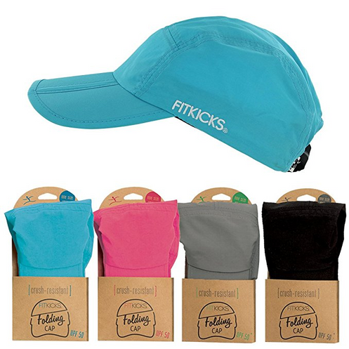 227c1bf753e10 Fitkicks Folding Cap is available in four colors that match the entire  Fitkicks shoes and accessories line. Compact portability  the bill can be  folded into ...