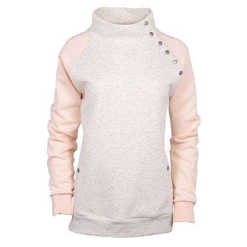 82178 W Cozy Asym Snap Front Pullover