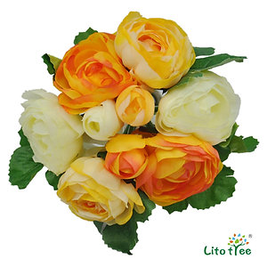 LitoTree Artificial Flowers Silk Flowers Rose Bouquet 9 Heads Camellia for Decor